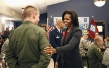 "U.S. First Lady Michelle Obama promotes her ""Let's Move"" initiative at Little Rock AFB, Arkansas"