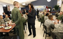 """U.S. First Lady Michelle Obama promotes her """"Let's Move"""" initiative at Little Rock AFB, Arkansas"""