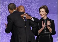 Barack Obama, John Lewis, Laura Bush