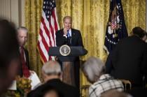 US Vice President Joseph R. Biden pauses