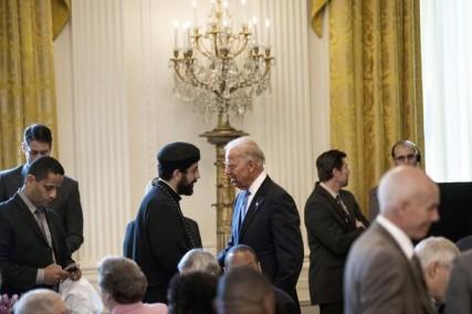 US Vice President Joe Biden(R) greets gu