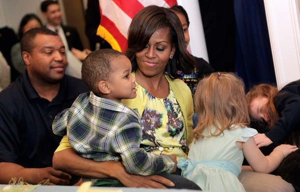 Michelle Obama Visits With Military Families At Walter Reed's Fisher House