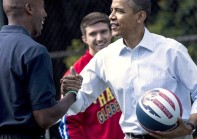 US President Barack Obama greets visitor