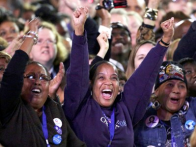 Supporters celebrate Obama win
