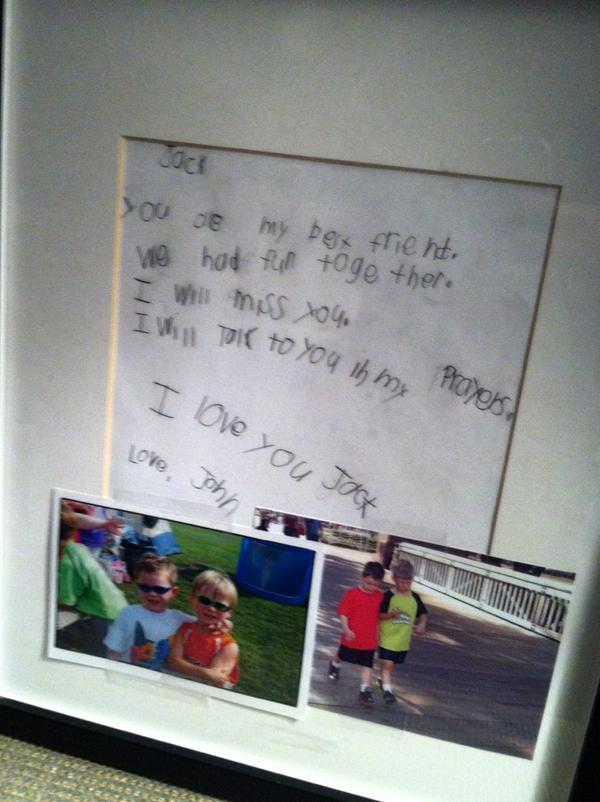 A letter 6-year-old Jack Pinto's best friend wrote him