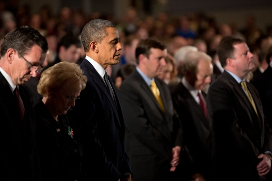 President Barack Obama attends the Sandy Hook interfaith vigil at Newtown High School in Newtown, Conn., Sunday, Dec. 16, 2012. (Official White House Photo by Pete Souza)