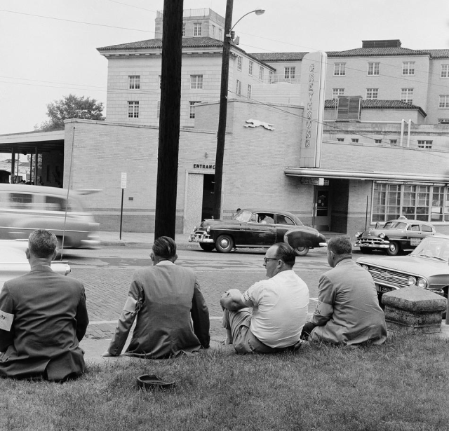Freedom Riders- After the Freedom Riders were beaten by a mob at the Montgomery station, federal marshals assembled by Gov. Patterson, wearing bright yellow arm bands, are sent in to keep the calm at the terminal