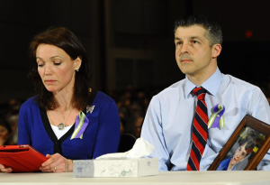 Newtown Gun Control Hearing-Nicole and Ian Hockley, parents of Sandy Hook School shooting victim Dylan, testify during a hearing of a legislative task force on gun violence