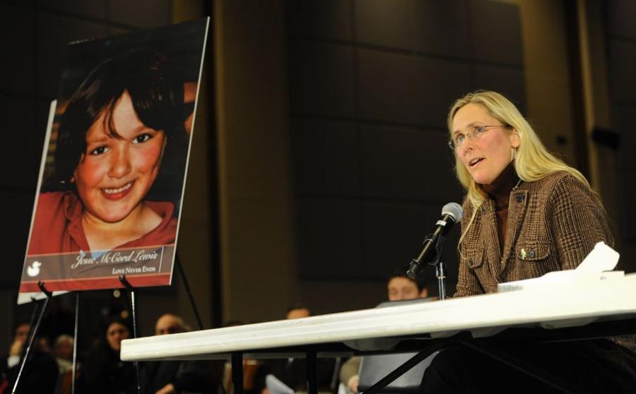 Newtown Gun Control Hearing-Scarlett Lewis, mother of Sandy Hook Elementary School shooting victim Jesse Lewis, speaks during a hearing of a legislative task force on gun violence