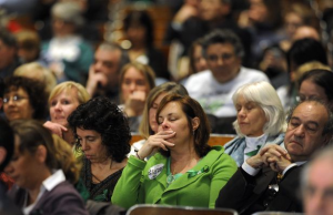 Residents of Newtown, Conn. fill an auditorium and listen during a hearing of a legislative task force on gun violence