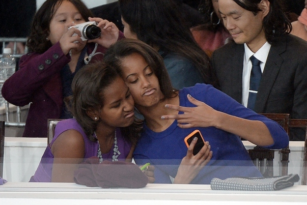 Sasha and Malia made faces