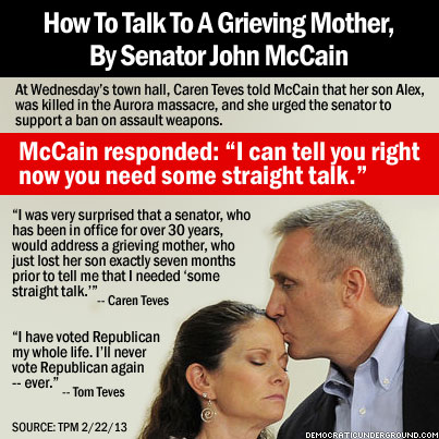 Democratic Underground130222-how-to-talk-to-a-grieving-mother-by-senator-john-mccain