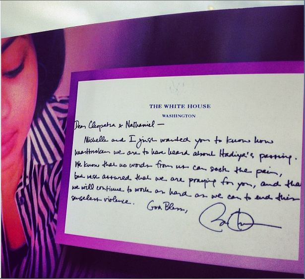 Handwritten letter to Hadiya Pendleton's parents