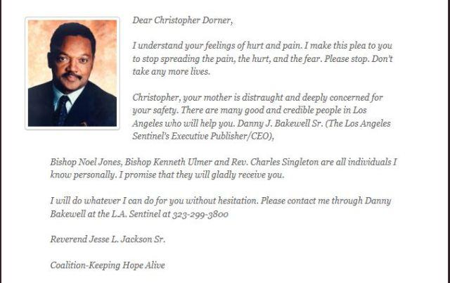 Jesse Jackson's letter to Christopher Dorner