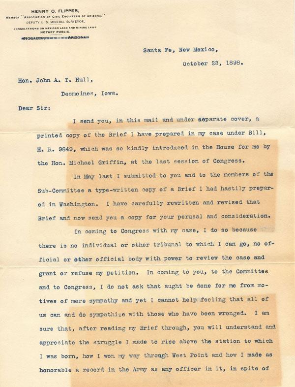 Lieutenant Henry O. Flipper- Letter 1