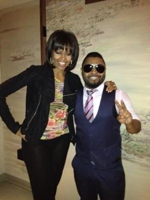 Michelle Obama with Musiq Soulchild (Iona Lee for the Howard Theatre