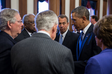 Photo of the Day-President Obama talks with Congressional leaders at the Capitol before Rosa Parks statue dedication