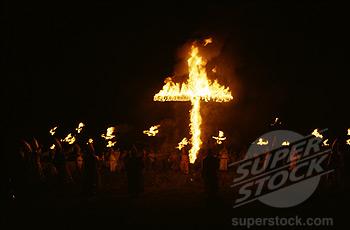 Ku Klux Klan Cross Burning Ceremony Near Saluda, South Carolina USA
