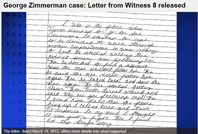 Letter from witness 8