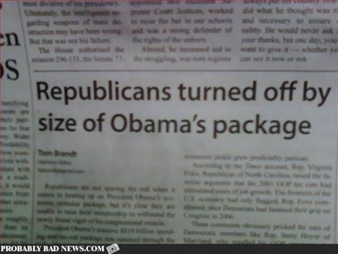 Republicans turned off by the size of Obama's package
