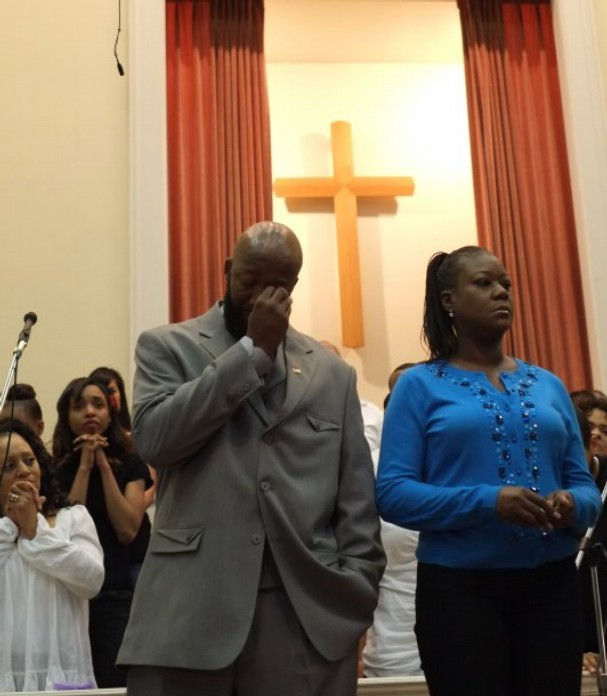 Sybrina Fulton, right, and Tracy Martin, the parents of the 17-year-old whose homicide last year sparked a national debate, attend a church service Saturday at Overcoming Believers Church.