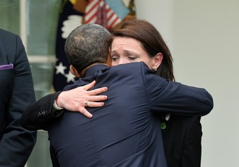 President  Obama hugs Nicole Hockley, mother of Dylan
