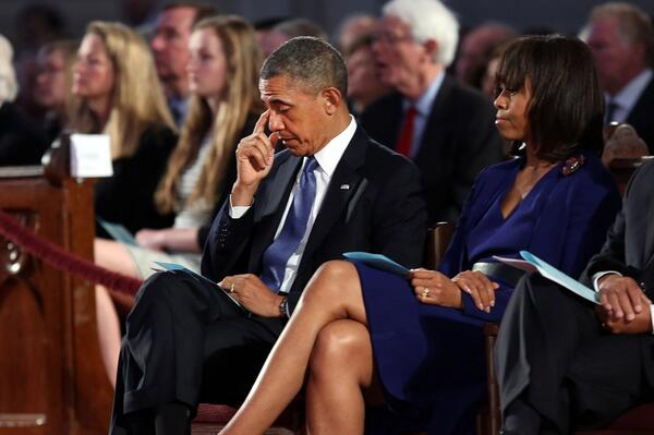 President Obama sheds tears at prayer service at a cathedral less than a mile from #Boston Marathon finish line.