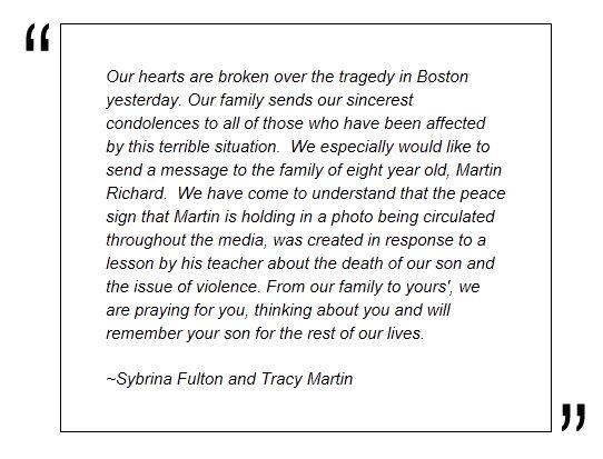 Sybrina Fulton message to Martin Richard's family
