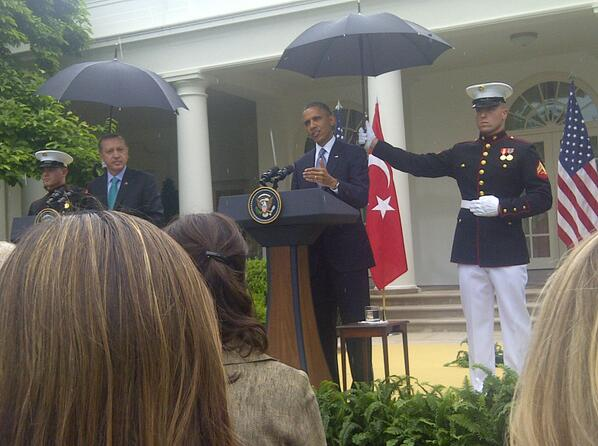 Marines summoned to hold umbrellas over Pres Obama & PM Erdogan