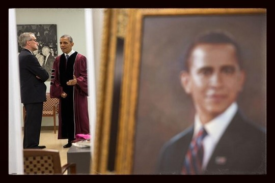 Pete Souza: 'POTUS backstage w CoS Denis McDonough (and painting of Potus) before today's commencement'