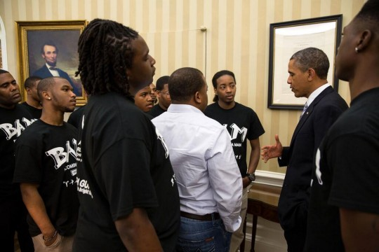 Photo of Pres Obama with students from Becoming A Man (BAM) program in the Oval, following today's Father's Day lunch