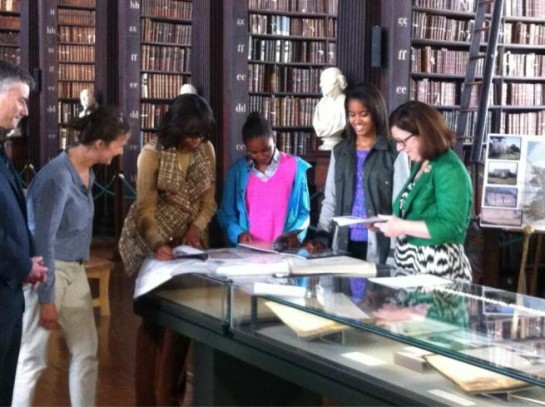 The First Lady, Malia and Sasha: Shortly after their arrival in Dublin from Belfast they will visit Trinity College at lunchtime where they will view the Book of Kells.