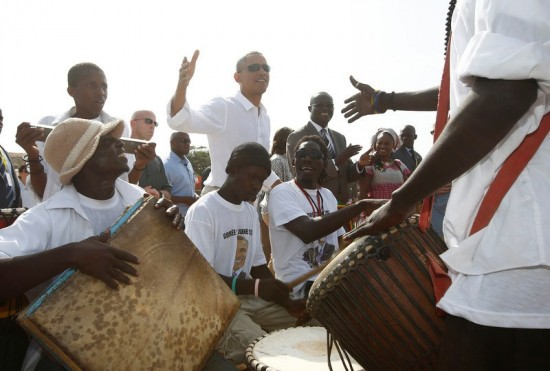U.S. President Barack Obama meets with African drummers on Goree Island near Dakar
