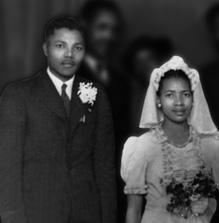 Nelson Mandela with first wife Evelyn