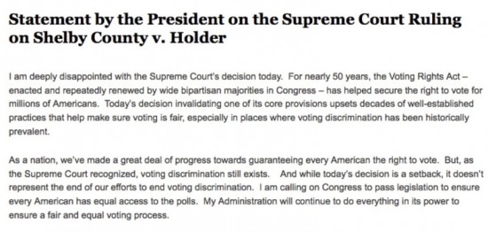 statement by president on vra