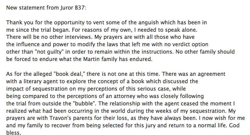 New Statement from Juror B 37