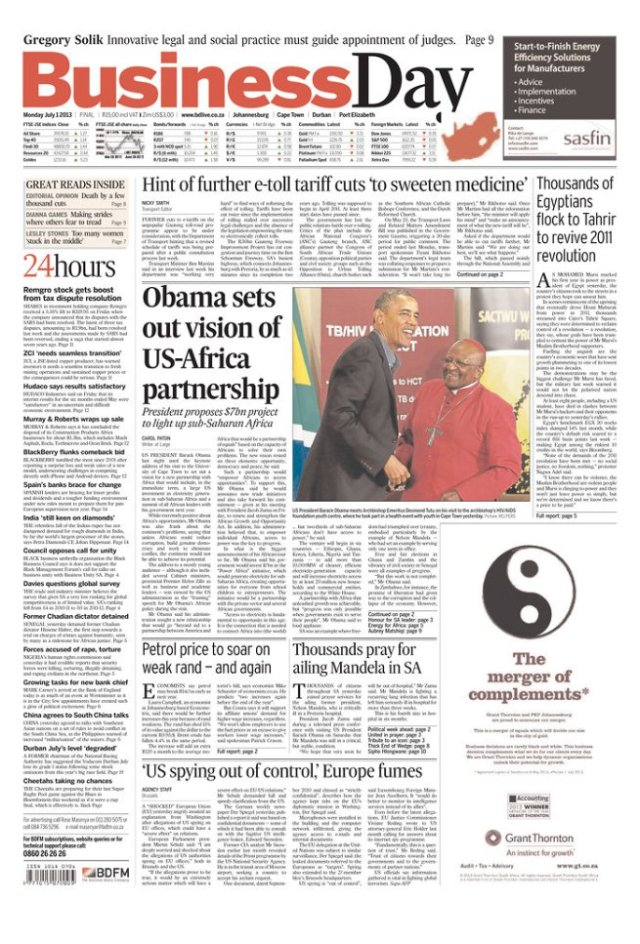 OBAMA FRONT PAGES AFRICA 2013-3