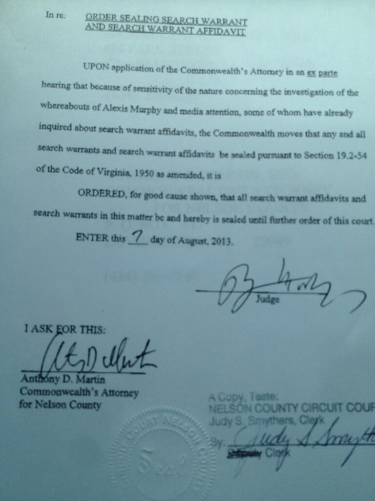 Judge sealing search warrant order in Alexis Murphy case