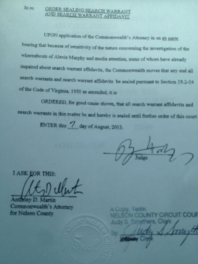 Judge sealing search warrant order in Alexis Murphy case