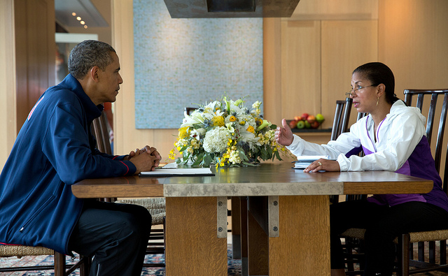 National Security Advisor Susan E. Rice briefs President Barack Obama during his Presidential Daily Briefing in Chilmark, Mass., August 12, 2013.
