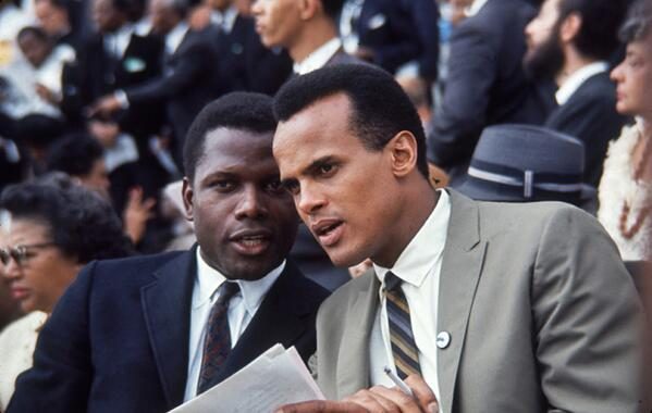 Sidney Poitier and Harry Belafonte at the 1963 March on Washington