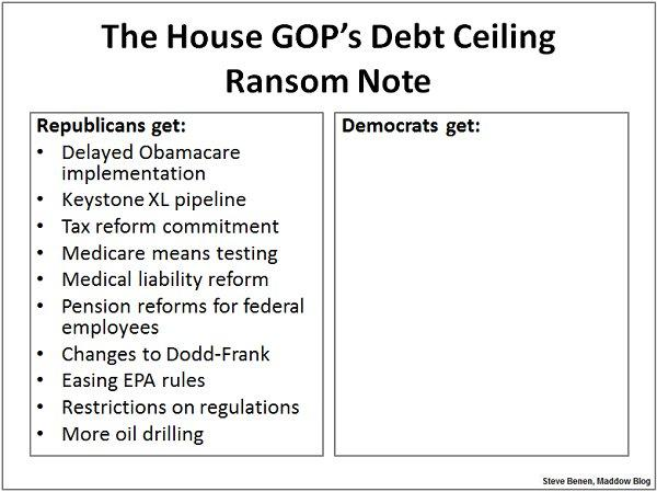 HOUSE GOP DEBT CEILING RANSOM NOTE