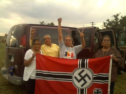 Lakota and Dakota grandmothers captured the Nazi flag flying over Leith, ND and later burned it!!!