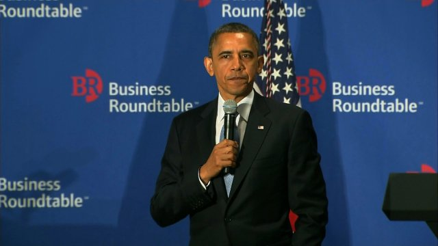 President Obama talks to the Business Roundtable