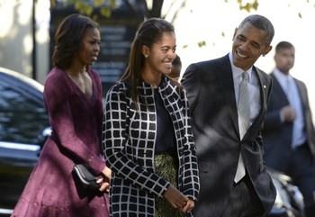 Obama And Family Go To Sunday Church