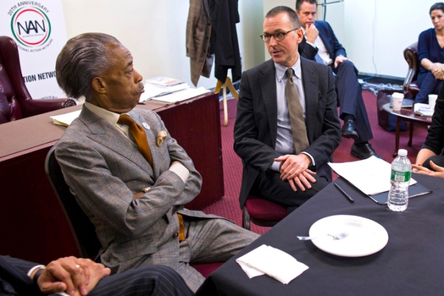 Reverend Al Sharpton meets with Barneys New York Chief Executive Mark Lee at the National Action Headquarters in New York
