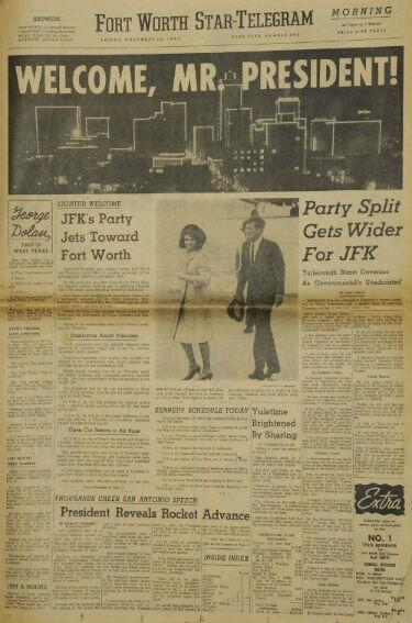 50 years ago today, the Fort Worth Star-Telegram morning edition welcomes President Kennedy