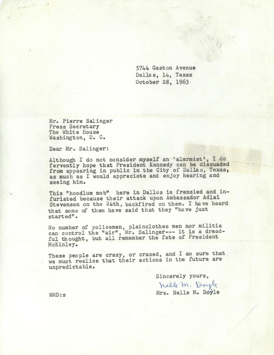 letter from a Dallas citizen begging JFK not to visit