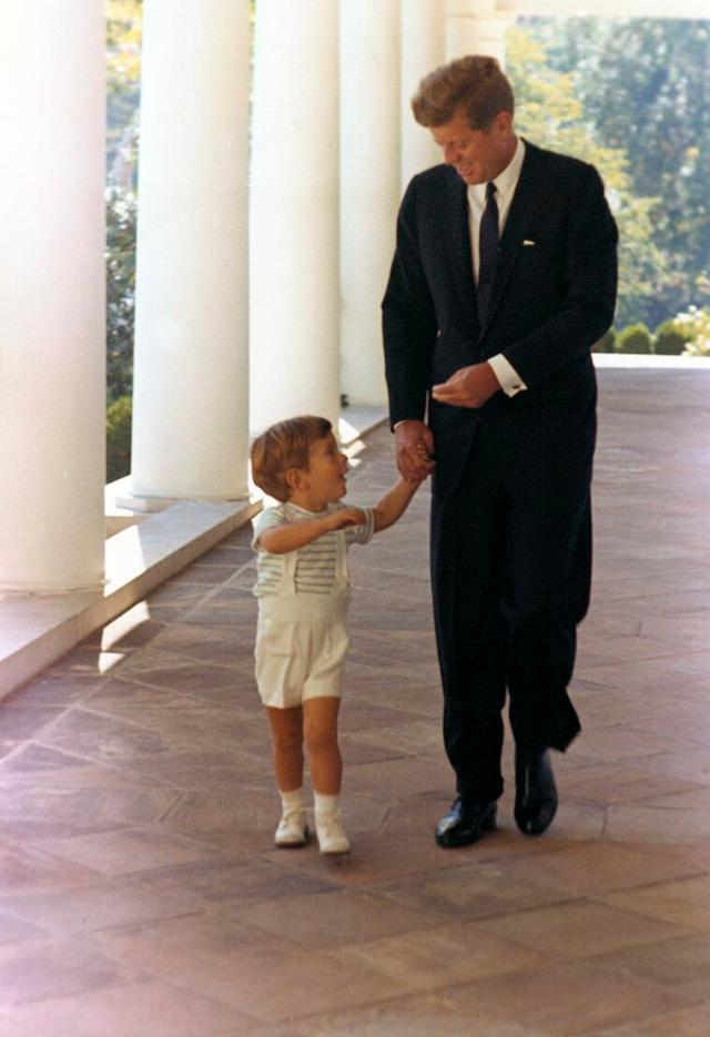 President John F. Kennedy and his son, John F. Kennedy Jr., White House, October 1963.