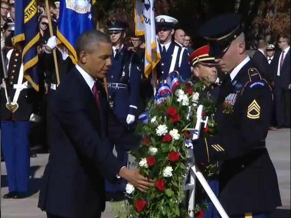 Today President Obama lays wreath at Tomb of the Unknowns at Arlington National Cemetery